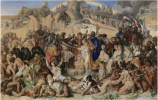 The Marriage of Strongbow and Aoife, Waterford 1170, following the Anglo-Norman invasion of Ireland in 1169. | https://en.wikipedia.org/wiki/Aoife_MacMurrough; https://www.askaboutireland.ie/reading-room/artsliterature/art-artists/daniel-maclise-(1806-1870/the-marriage-of-strongbow/.