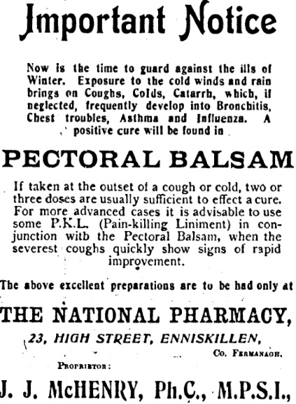 Co. Fermanagh advert | Fermanagh Herald, 13 December, 1919