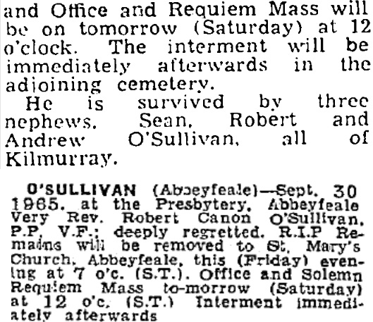 Robert Canon O'Sullivan died on Sep 30th 1965, aged 63 years
