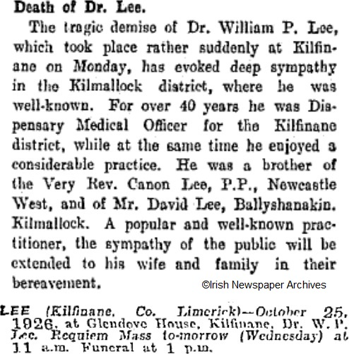 Dr William Lee died on Oct 25th 1926, aged 63 years