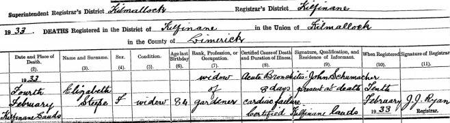Elizabeth Steepe died on Feb 4th 1933, aged 84 years
