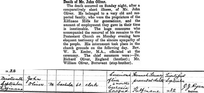 John Oliver died on Sep 19th 1932, aged 60 years
