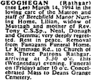Lilian (Lee) Geoghegan died on Mar 14th 1994, aged 88 years
