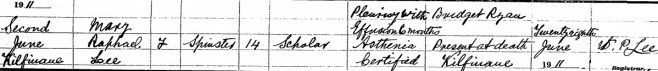 Mary Raphael Lee died on Jun 2nd 1911, aged 14 years