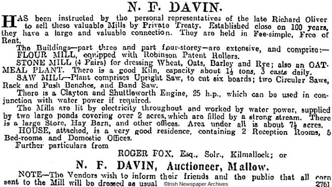 Sale notice, dated Nov 8th 1919, for the once-bustling corn and weaving mill complex built by the Oliver family