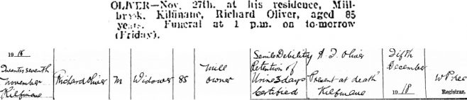 Richard Oliver died on Nov 27th 1918, aged 85 years