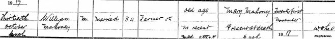 William O'Mahony died on Oct 30th 1917, est age 83 years