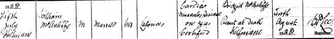 William McAuliffe died on Jul 5th 1923, aged 64 years
