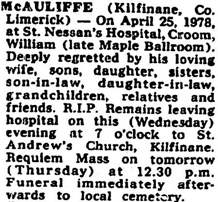 William McAuliffe died on Apr 25th 1978 aged 76 years
