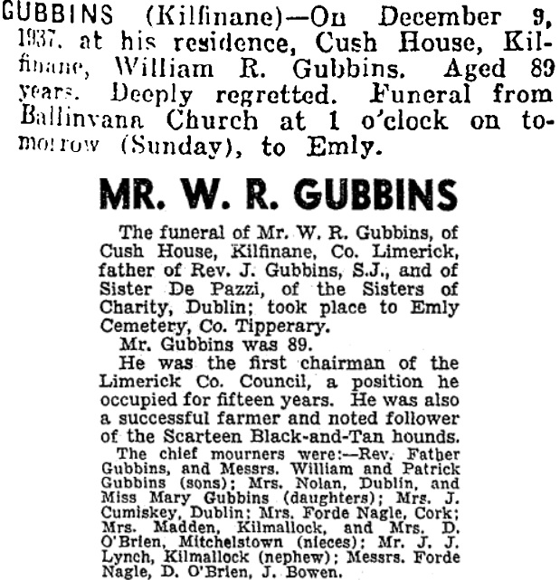William Gubbins died on Dec 9th 1937, stated age 89 years