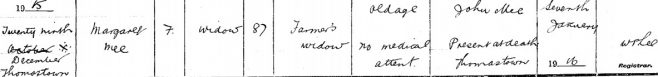 Margaret Mee died on Dec 29th 1915, stated age 87 years