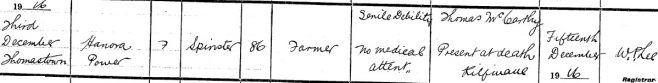 Nora Power died on Dec 3rd 1916, aged 86 years