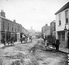 Main St. Blackrock, Co. Dublin | https://commons.wikimedia.org/wiki/File:Main_Street_Blackrock,_Co_Dublin_late_1800s_facing_south.jpg
