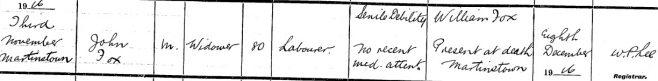 John Foxe died on Nov 3rd 1916, aged 80 years