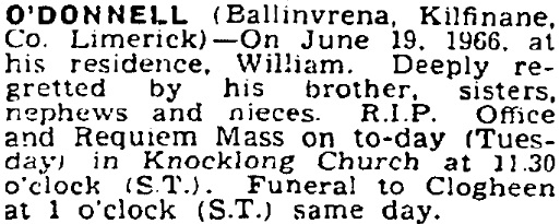 William O'Donnell died on Jun 19th 1966, aged 75 years