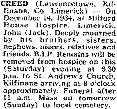 John Creed died on Dec 14th 1984, aged 82 years