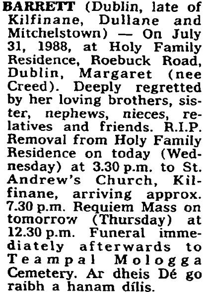 Margaret Creed (Barrett) died on Jul 31st 1988, aged 86 years