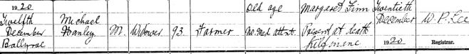 Michael Hanley, father of Sean Óg, died on Dec 12th 1920; stated age 93 years (65 in 1901).