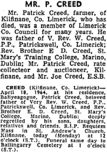 Patrick Creed died on Apr 18th 1964, aged 88 years