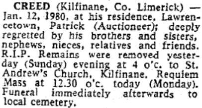 Patrick Creed died on Jan 12th 1980, aged 79 years