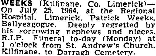 Patrick Weeks died on Jul 25th 1964, aged 80 years