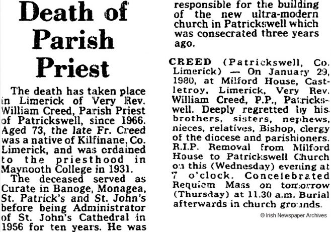 Fr William Creed died on Jan 29th 1980, aged 73 years