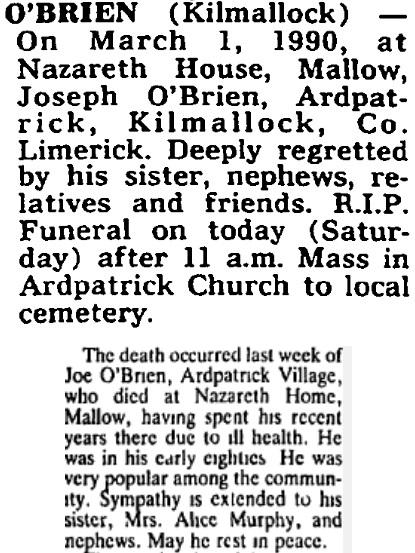 Joe O'Brien, Sunvale Inn merchant, died on Mar 1st 1990, aged 83 years