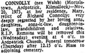 Mary (Walsh) Connolly died on Nov 20th 1973 aged 80 years