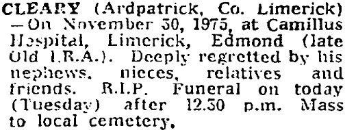 Edmond Cleary died on Nov 30th 1975, aged 78 years