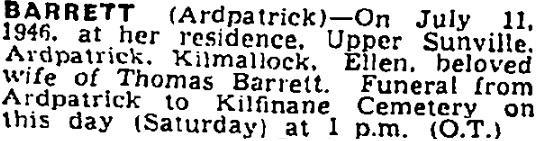 Ellen Barrett died on Jul 11th 1946, aged 72 years