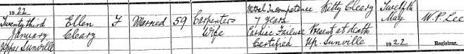 Ellen Cleary died on Jan 23rd 1922, aged 59 years