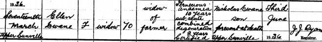 Ellen Dwane died on Mar 17th 1936, aged 70 years