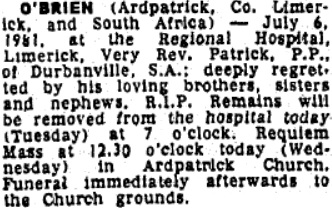 Fr Patrick O'Brien died on Jul 6th 1981, aged 73 years