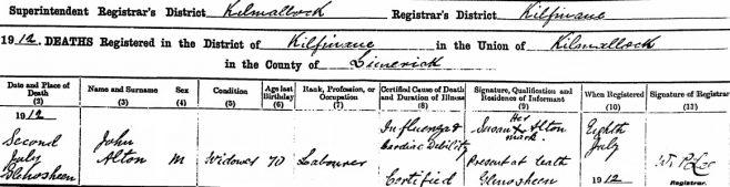 John L Alton died on Jul 2nd 1912, aged 70 years