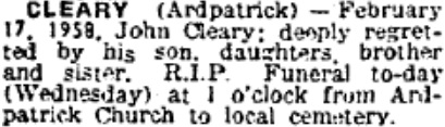 John Cleary died on Feb 17th 1958, aged 70 years