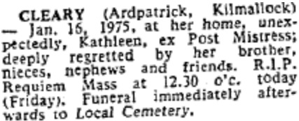 Kathleen Cleary died on Jan 16th 1975, aged 69 years