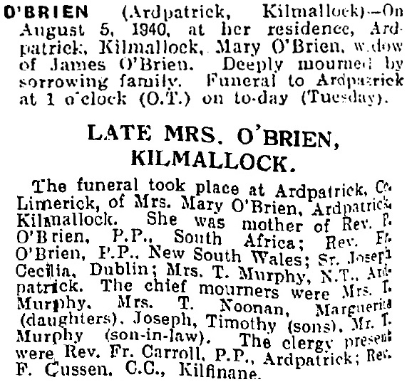 Mary O'Brien died on Aug 5th 1940, aged 75 years