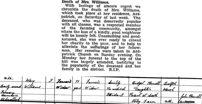 Mary Williams died on Feb 22nd 1936, aged 77 years