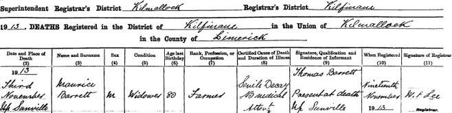 Maurice Barrett died on Nov 3rd 1913, aged 80 years