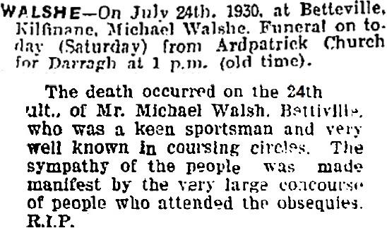 Michael Walsh Obituary 1930