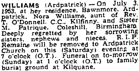 Nora Williams died in Jul 1953, aged 63 years