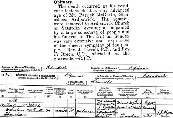 Patrick McGrath died on Dec 29th 1933, stated age 79 years (8-year discrepancy with census)