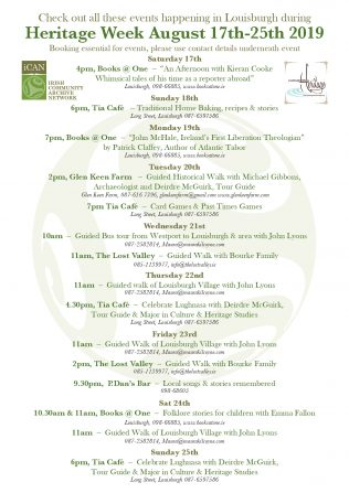 Louisburgh Heritage Week  Events | Louisburgh-Killeen Heritage Group