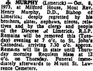 Bishop Henry Murphy, May 19th 1912 - Oct 8th 1973; 61 yrs 142 dys