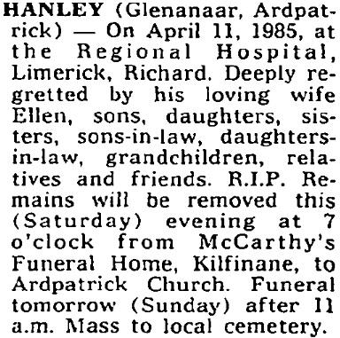 Richard Hanley died on Apr 11th 1985, aged 75 years
