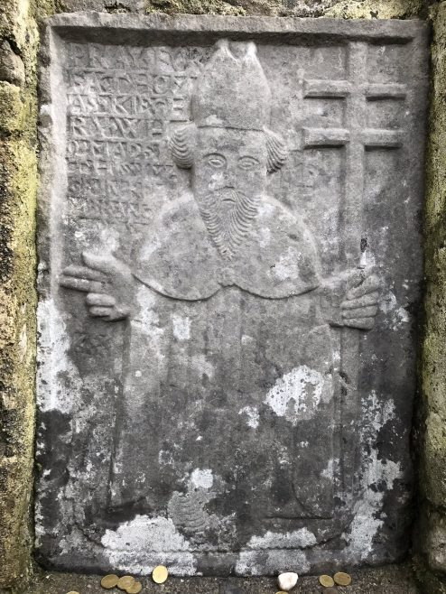The 17th century carved image of St. Patrick at the well | Colm Murray