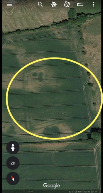 Moated site in Cutbush, Co. Kildare | Image captured during drought of 2018 showing outline of moated site