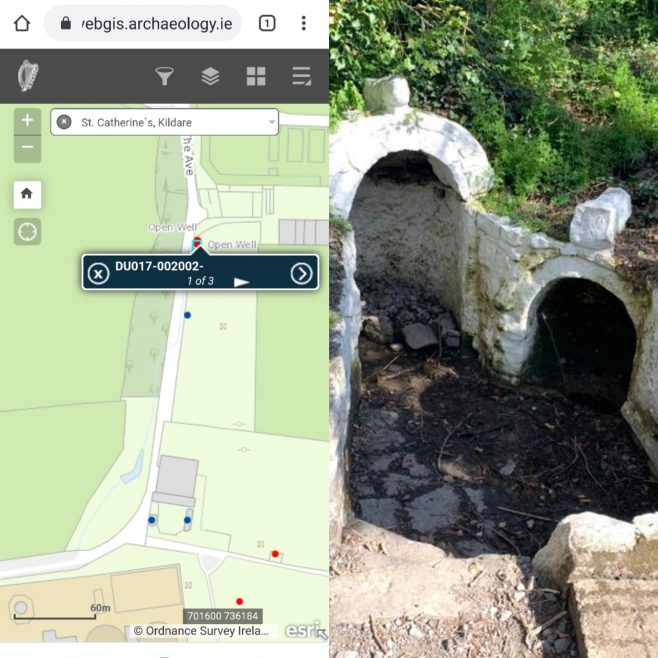 St. Catherine's Well | Photograph by Ann Field and the map with the location is from https:/webgis.archaeology.ie