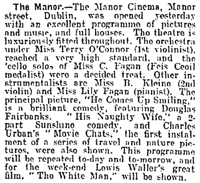 Evening Herald notice for the opening of the Manor Cinema | Evening Herald 11 May 1920