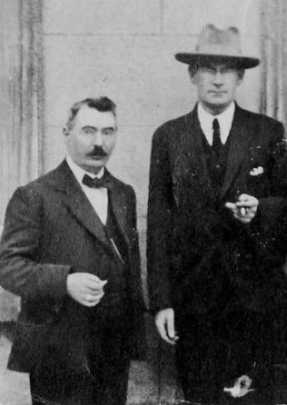 T.H. Gillespie pictured outside the Imperial Hotel, Castlebar, with Michael Collins. | Tom Gillespie Collection